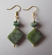 Jade Earrings Gemstone Boho Bohemian Xmas Gift Jewellery Hippie Gold Plated