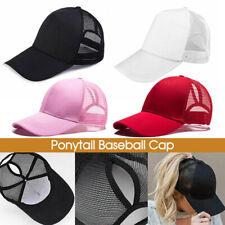 Women Ponytail Baseball Cap Messy Bun Baseball Hat Snapback Sun Sport Caps E6