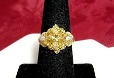 21K YELLOW PURE GOLD FILIGREE FLORAL DESIGN BAND RING SIZE 7.5