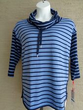 Ruby Rd.Soft Stretch Jersey  3/4 Sleeve Tie Cowl Neck Top XL Striped  MSRP $59.