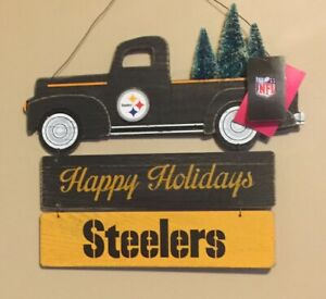 Pittsburgh Steelers Happy Holidays Sign ~ Christmas Wall Door Decoration ~ NEW