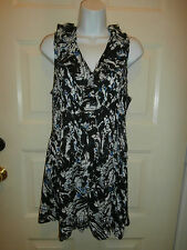 NWT NEW Sunny Leigh TOP DRESS XL POLYESTER RUFFLE BUTTON DOWN ABSTRACT DESIGN