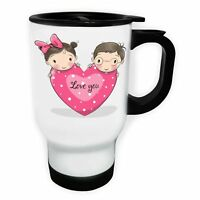 Love You Pink Heart With Girl And Boy White/Steel Travel 14oz Mug ff505t
