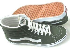 Vans Sk8-Hi Men's Forest Night Green True White Canvas Suede shoes Size 10.5 NWT