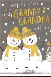 CHRISTMAS CARD TO A LOVELY GRANNY & GRANDPA - SNOWMEN