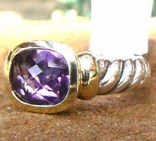 David Yurman Purple Amethyst 10mm x 8mm Noblesse Ring 14kt/925