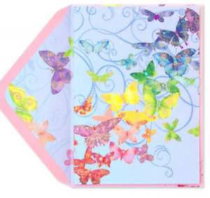 Papyrus Birthday card - Butterflies in Rainbow Colors w/ Tiny Gems & Gold