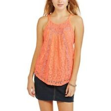 No Boundaries Junior Girls Coral All Over Lace Braided Strappy Tank 15-17 XL