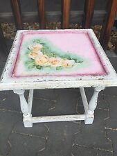 Romantischer Beistelltisch Rosen weiss Landhausstil Holz Keramik Frankreich