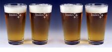 4 UNITS Pittsburgh STEELERS Craft Beer Glasses FREE Decal -Set x4  Etched Custom