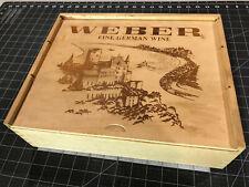 """Vintage Weber Fine German Wine Wooden Box w/ slats 13x11x4"""" For 3 wine bottles"""