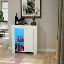 LED Light Cupboard with Glass Shelf Bookcase Sideboard High Gloss Door Case UK