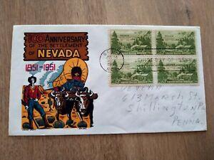 US FDC 1951 100 ANNIVERSARY NEVADA SETTLEMENT KEN BOLL CACHET CRAFT