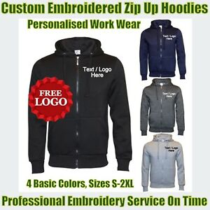 Custom Embroidered Fleece ZipUp Hoodies Personalised With Your Logo & Text Free