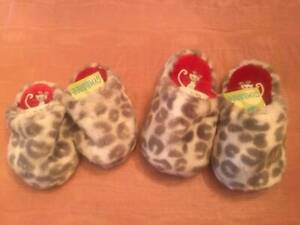NWT Gymboree Gray Animal Print Faux Fur Baby Girl Slippers 3/4 & 7/8 Vintage
