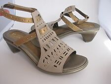 sz 10/ 41 NEW NAOT Vogue Sandal Linen Leather/Gold Sheen Leather womens shoes