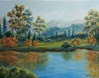 "Art 14""/11"" oil painting,Autumn in the mountains , landscape, mountains view"