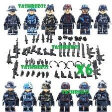 6CUSTOM Minifigures SWAT Police Team Military Army Soldier With Weapon for Lego