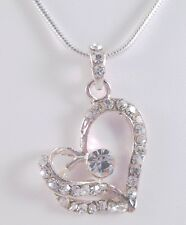 Beautiful New Silver Tone Crystal Heart Necklace