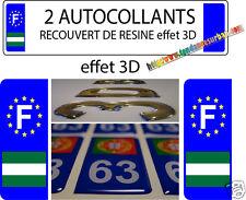 2 STICKERS Autocollant ANDALOUSIE plaque immatriculation auto 3D EN RESINE F
