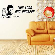 STAR TREK SPOCK LEONARD NIMOY live long and prosper VINYL WALL ART STICKER QUOTE