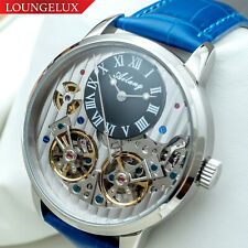 Mens Double Flywheel Automatic Mechanical Watch Silver Black Dial Blue Leather