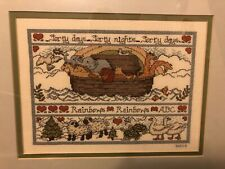 Noah's Ark Cross Stitched Matted and Framed Nursery Room Picture in Earth Tones