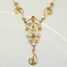Charming Antique Edwardian 14ct Gold Seed Pearl set Drop Necklace c1905