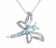 Diamond Dragonfly Necklace Sterling Silver Created Blue Topaz Pendant 0.90 Tcw