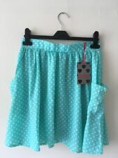 BNWT Ladies Turquoise And White Spotty Skater Skirt Size 10 From Boohoo New