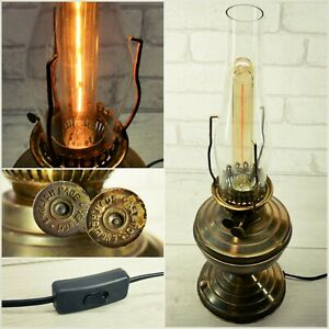 Vintage DUPLEX Brass Oil Table Lamp Converted Electric With Bulb - STUNNING !!!