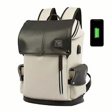 Man Backpack Pu Leather Usb Recharging Laptop Male Waterproof Travel Multicolor