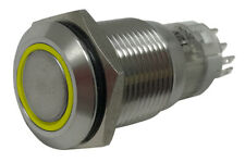 Yellow LED Stainless Metal Latching Push Button Switch On Off 12V 16mm Mounting