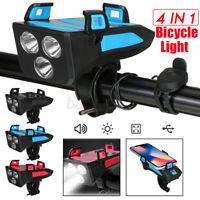 4 in 1 Bike Bicycle Light Waterproof with Bike Horn Phone Holder Power Ban