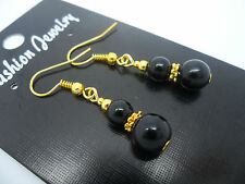 Gold Plated Dangly Earrings. New. A Pair Of Black Onyx