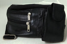 JL Sheep Leather Waist Bum Bag Black Travel Fanny Pack Money Belt Mobile Pouch