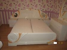 Klassische Italienische Luxus, Doppelbett Hochglanz poliert Lattenrost Matratzen