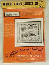 Cross Stitch Needles and Hoops Heirloom Sampler #119 Rare, Belgian Linen