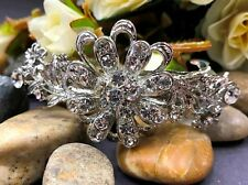 Silver tone with silver rhinestone crystal hair barrettes metal hair clip ha3070