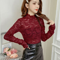 Women Lady Lace Shirt Floral Tops Blouse T-shirt Pullover Turtle Neck Sheer Mesh