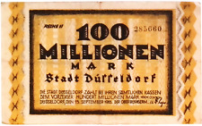1923 Germany DUSSELDORF 100.000.000 / 100 Million Mark Banknote