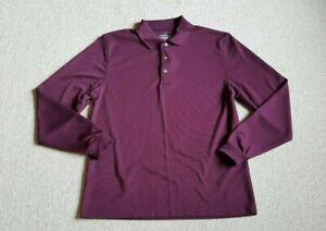 "Mens Shirt-GRAND SLAM-GOLF-maroon performance ""Air Flow"" stretch knit polo ls-M"
