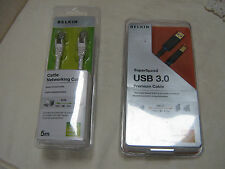 TWO BRAND NEW SEALED BELKIN  CABLES CAT 5E 5 METRES  & SUPER SPEED USB 3.0   1M
