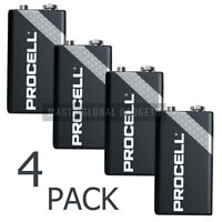 4 X DURACELL PROCELL 9V PP3 BLOCK ALKALINE BATTERIES MN1604 REPLACES INDUSTRIAL