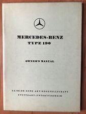 MERCEDES BENZ BETRIEBSANLEITUNG OWNER'S MANUAL 1959 ENGLISH LANGUAGE