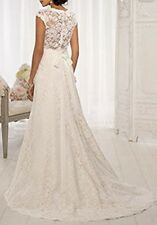 Lace Over Satin Wedding Dress, V Neckline A Line Cap Sleeve, Size 8 Ivory