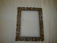 Antique Victorian Ornate Scrolling FRUIT Rococo Large Photo Picture Brass Frame!