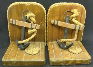 Nautical Wood/Rope/Anchor Bookends