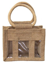 Natural Jute Bags for 3 Mini Bottle - Gift Bags for Wine, Condiments, Oils x 10