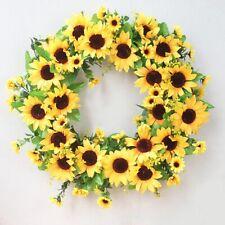 Artificial Sunflower Wreath Garland Door Window Hanging Wedding Decor 48cm